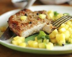 Weight Watchers Grilled Jerk Pork Tenderloin and Pineapple Mango-Kiwi Salsa Recipe - 14 Smart Points Pork Tenderloin Recipes, Pork Recipes, Cooking Recipes, Grilled Corn Salad, Pork Dishes, Dinner Dishes, Food To Make, Good Food, Tasty