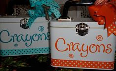 Crayon Tins....Web Site has Lots Of Ideas To Make Using Cricut Vinyl
