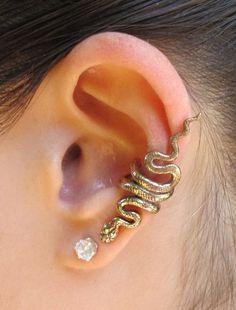 Snake Ear Cuff Bronze Snake Ear Wrap Snake Earring Snake Jewelry Serpent Jewelry Non-Pierced Earring Snake Art Ear Jacket Bronze Cuff Medusa Snake Earrings, Snake Jewelry, Punk Jewelry, Ear Jewelry, Body Jewelry, Diamond Earrings, Stud Earrings, Snake Ears, Accesorios Casual