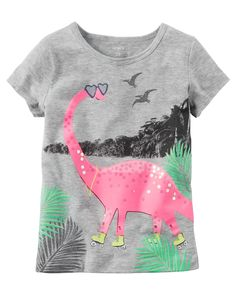 Carter's Baby Girls' Graphic Dinosaur Tee: This short sleeved Carters tee features a pre-historic skating dinosaur graphic front design. Newborn Girl Dresses, Girls Dress Up, Carters Dresses, Girl Dinosaur, Toddler Girl Outfits, Toddler Girls, Baby Girls, Girls 4, Carter Kids