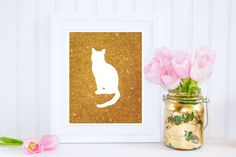 Gold Cat Print, White Cat on Gold Background, Gold Glitter Art, Instant Download, $5 PetrichorBlue on Etsy.com