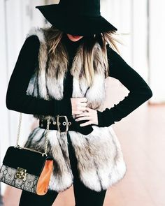 How To Style A Faux Fur Vest: 28 Lovely Ideas Faux fur vests are super popular this year (and animal friendly)! Check out these 28 lovely ideas of how to style a faux fur vest while staying warm.