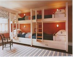 White bunk beds with built-in trundles - Steven Gambrel