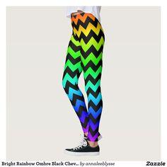 Bright Rainbow Ombre Black Chevron Leggings