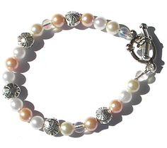 Ivory, Pink and White Swarovski Pearl Bracelet / Anklet,  Beach Wedding Jewelry, Choice of Length Bracelet, Flower Girl Bracelet  Nautical - pinned by pin4etsy.com