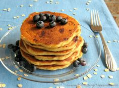 Best GF Buttermilk Oatmeal Panckes with Blueberries