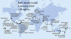 Travel around the world in a 119 days on a luxury cruise liner. The perfect bucket list cruise. 32 countries and 49 destinations. Cruise Destinations, Cruise Vacation, Dream Vacations, Vacation Spots, European Vacation, Msc Cruises, Msc Magnifica, Around The World Cruise, The Journey