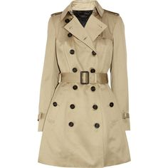 Burberry Prorsum Mid-length cotton-sateen trench coat ($1,397) ❤ liked on Polyvore featuring outerwear, coats, jackets, coats & jackets, burberry, trench coat, neutrals, brown double breasted coat, double breasted coat and burberry coat
