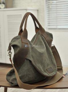 Large Capacity Shoulder Bag Leather Canvas Bag (14)