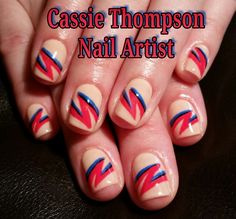 David Bowie Aladdin Sane inspired nail art by Cassie Thompson nail artist of Vancouver WA Follow me on Instagram @ctnailartist