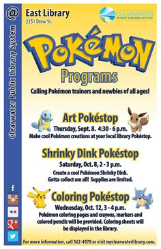 Calling Pokemon trainers and newbies of all ages! Three exciting Pokemon-themed arts and crafts programs this fall at the East library!