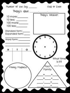 Calendar Math Sheet FREE! - could make this on chart paper, laminate, and use as whole group during morning meeting.