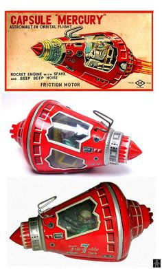 Space Capsules - CAPSULE MERCURY RED VERSION - HORIKAWA - JAPAN - ALPHADROME ROBOT AND SPACE TOY DATABASE