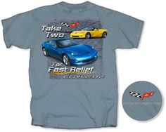 """C6 Take Two Grand Sport T-shirt - Item #339$15.00  C6 Take Two Grand Sport T-shirt - Item #339 Click to enlarge The storied Grand Sport Corvette is back! This new t-shirt tells it straight up """"Take two for fast relief"""". This slate blue t-shirt is 100% preshrunk and has the Corvette C6 logo on the left front chest"""