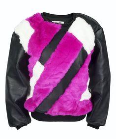 Get The Looks Online Wardrobe\Fur & Leather Panel Sweatshirt in Fuchsia