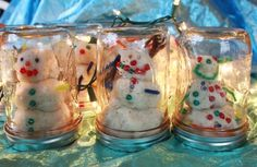 Play Dough Snow Globe:  Great Christmas Activity to do with the kids.  Make/buy white Play Dough, add glitter, & let the kids decorate with scrap art materials (beads, sequence, pipe cleaners, etc.).  Then place the snowman in an upside down glass jar.