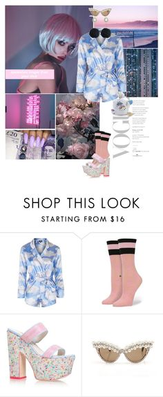 """You took my heart on my sleeve for decoration"" by gizibe ❤ liked on Polyvore featuring Topshop, Sophia Webster and Rock 'N Rose"