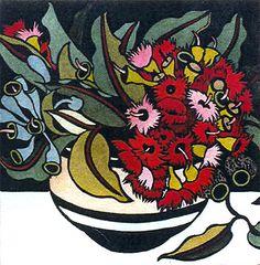 """Kit Hiller (Tasmanian contemporary artist) - """"Gum Blossum"""" - Hand coloured linocut"""
