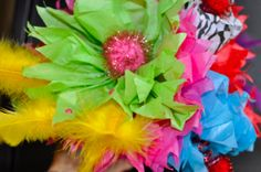 Fiesta headband tissue paper flowers feathers by HandCraftedwLOVE, $25.00