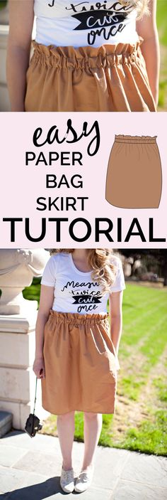 Free Sewing Pattern: Paper Bag Skirt Tutorial. It Says Length Desired Plus 3 Inches, I Would Make Longer As Is Stated To Press Under 2.5 Inches At Top Of Skirt Which Leaves a Scant 1/4 Inch Bottom Seam.