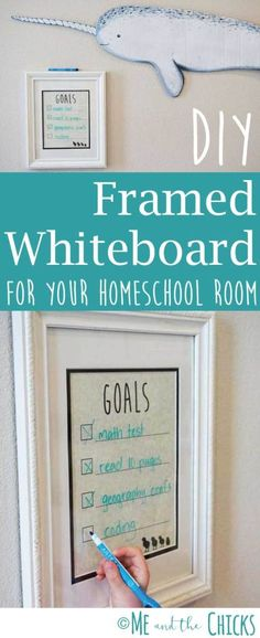 DIY Framed Whiteboard for your Homeschool Room. Create this cute, whiteboard craft by repurposing an old frame. Organize your classroom or office! More projects and kid crafts at Meandthechicks.com