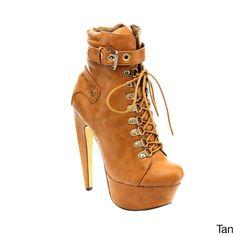 Mona Mia Venisha Women's Lace-up Side Zipper Stiletto Platform Ankle Booties
