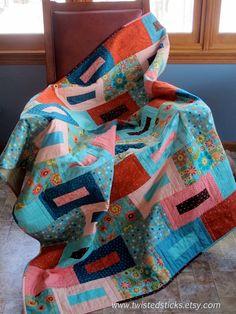 Modern Lap Quilt Geometric Patchwork Lap Quilt by twistedsticks, $305.00