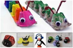 DIY kids crafts egg carton bugs to make Daycare Crafts, Preschool Crafts, Fun Crafts, Easy Kids Crafts, Arts And Crafts For Kids Toddlers, Stick Crafts, Baby Crafts, Easter Crafts, Toddler Activities