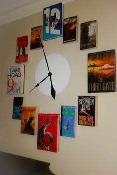 It's Always Book O'Clock! | How to make a really cool wall clock art piece with books, Command strips, and a cheap clock with a flat face.