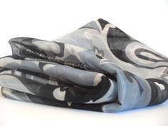 Black and White scarf vintage scarf silk by BestOffersBoutique Handmade Scarves, Etsy Handmade, Silk Scarves, White Scarves, Black And White Scarf, White Shawl, Oversized Scarf, Summer Scarves, Vintage Scarf
