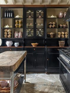 Home Interior Decoration black kitchen cabinets with glass fronts.Home Interior Decoration black kitchen cabinets with glass fronts Black Kitchen Cabinets, Farmhouse Kitchen Cabinets, Black Kitchens, Italian Kitchens, Kitchen Black, Farmhouse Kitchens, Rustic Italian, Italian Home, Italian Farmhouse Decor