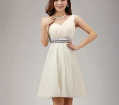 One shoulder Beige bridesmaid dress/ bridesmaid by luckystore829, $63.00