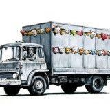 "Banksy Unveils ""Meat Truck"" Illustration"