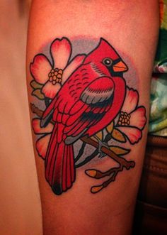 cardinal tattoo by dave wah at stay humble tattoo company in baltimore maryland