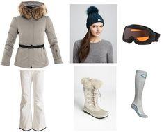 Chic ski style! Moncler jacket, Moncler hat, Sorel boots, warm ski socks and ski goggles!