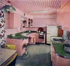 One very pink kitchen from 1951. Wow a whoo ah! I love this kitchen!