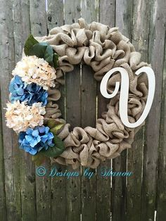 Hydrangea wreath, everyday wreath, burlap wreath, initial wreath