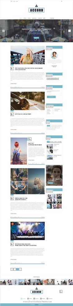 Accord is beautiful and clean #Blog #PSD #Template for Personal blog, Travel blog, Fashion blog or any type of creative blog with 8 homepage layouts and 30 organized PSD pages download now➩ https://themeforest.net/item/accord/19324821?ref=Datasata