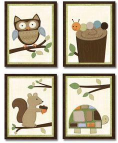 Woodlands Nursery Bedding art prints for Kids baby room (set of 4). $20.00, via Etsy.