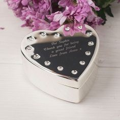 Personalised engraved diamante heart shape trinket box by SilverTreats on Etsy