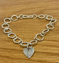 Chunky Sterling Silver Charm Bracelet with heart charm