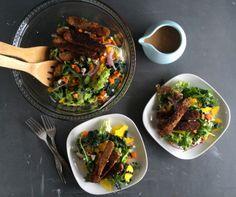Salad Greens with Roasted Sweet Potato, Tempeh Sticks and Balsamic BBQ Dressing | Seasonal Veg Head
