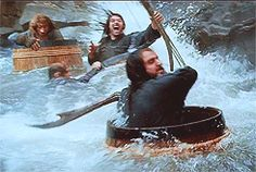 "(gif) Thorin is just like ""DIE."", Kili is like ""WOOHOO!! THIS IS AWESOME."", Bilbo is like ""Kili!... Please help me I'm drowning!!"""