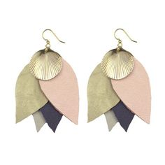 leaf and shell earrings in a beautiful soft colour palette
