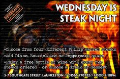 A treat for meat lovers... Our weekly Steak Night starts on Wednesday!