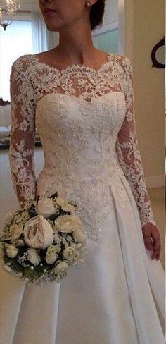 A-line V-back Long Sleeves Lace Wedding Dress