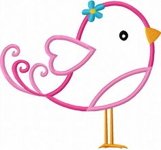 Valentine's day Bird Applique Machine by LovelyStitchesDesign