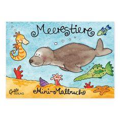 Malbuch A7 Meerestiere. Liebevoll illustriert von Annett Rudolph. Hergestellt in Deutschland. https://www.graetz-verlag.de/mini-malbuch-mit-meerestieren