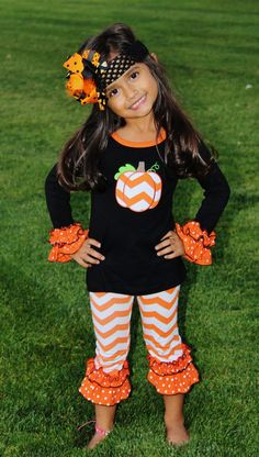 Pumpkin Ruffle Boutique Outfit #new