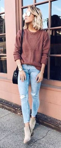 #winter #outfits knitted brown crew neck long sleeve shirt